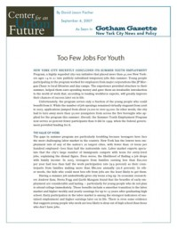 Too Few Jobs For Youth